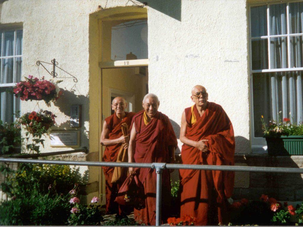 Geshe Damcho with Rizong Rinpoche at Lam Rim Bristol, May 1990